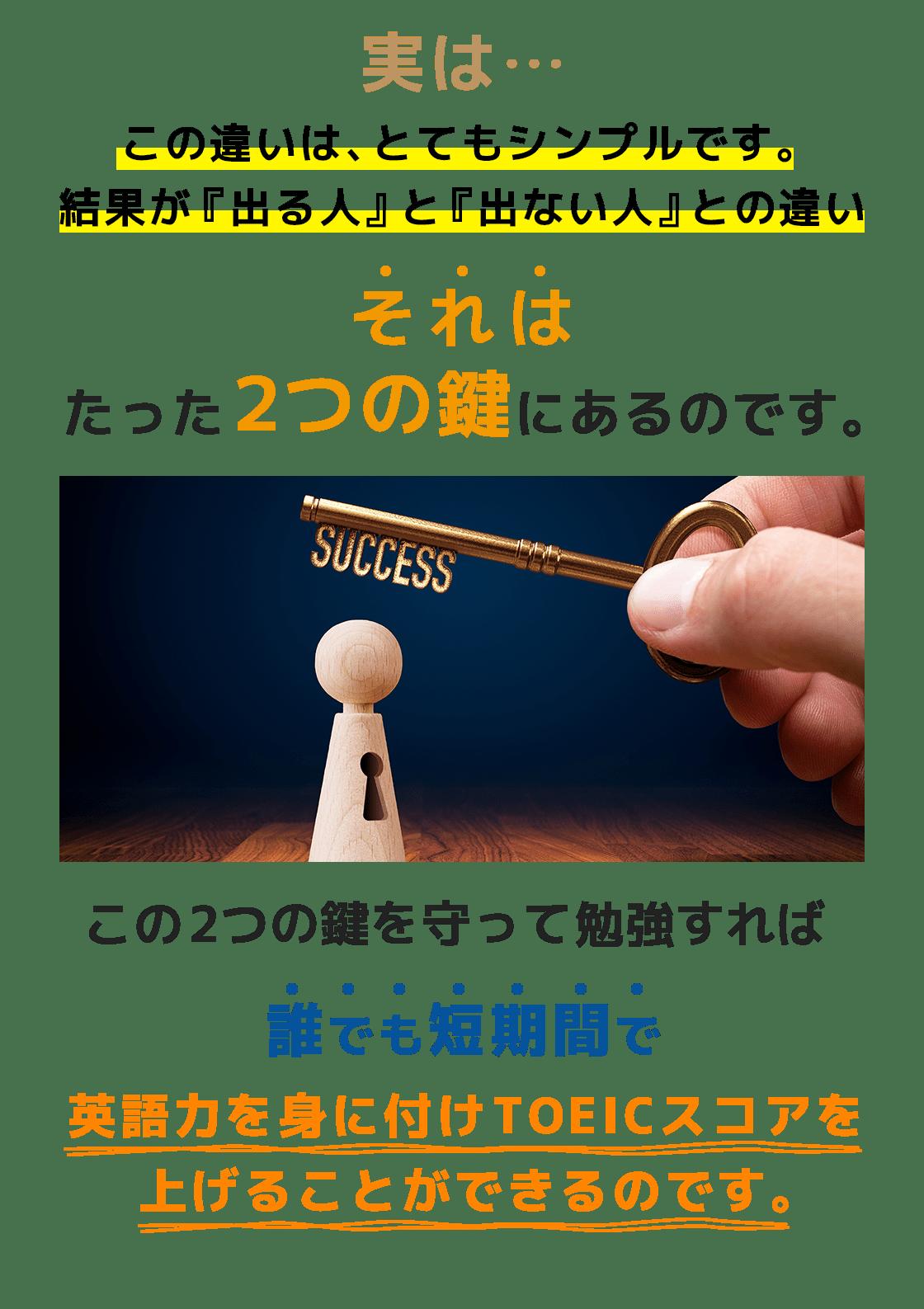 実は…この違いは、とてもシンプルです。結果が『出る人』と『出ない人』との違いそれはたった2つの鍵にあるのです。この2つの鍵を守って勉強すれば誰でも短期間で英語力を身に付けTOEICスコアを上げることができるのです。